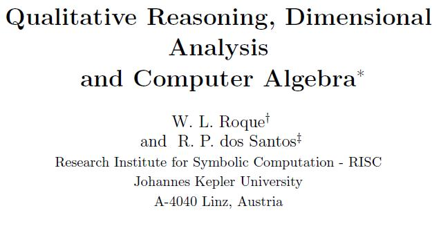 artigo 'Qualitative Reasoning, Dimensional Analysis and Computer Algebra'. Renato P. dos Santos
